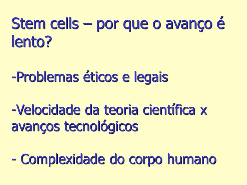 Stem cells – por que o avanço é lento? -Problemas éticos e legais -Velocidade da teoria científica x avanços tecnológicos - Complexidade do corpo huma