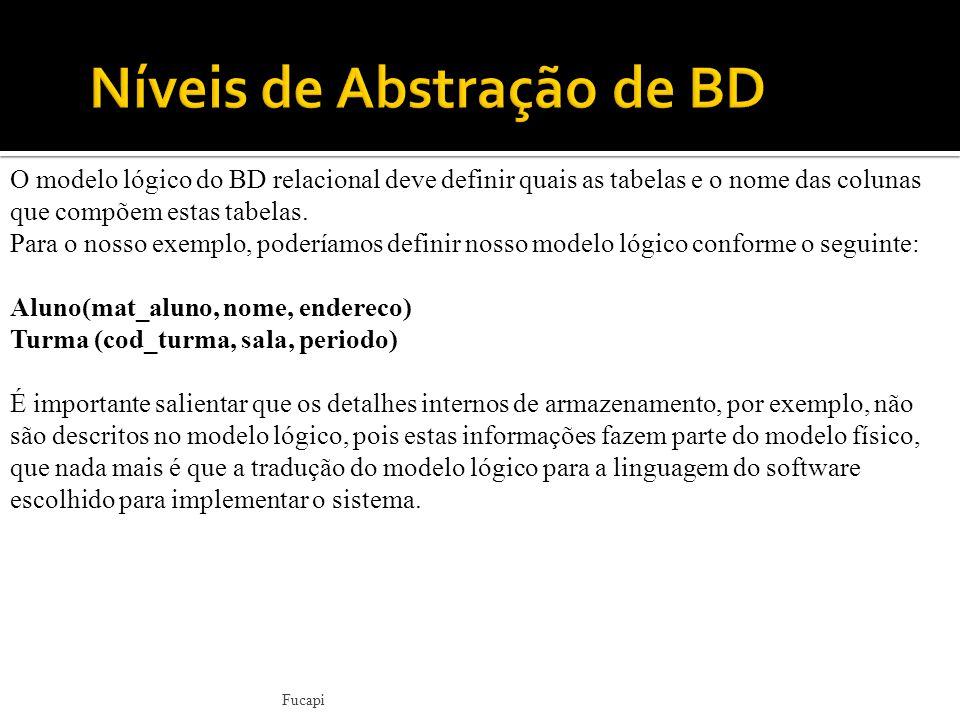 O modelo lógico do BD relacional deve definir quais as tabelas e o nome das colunas que compõem estas tabelas.