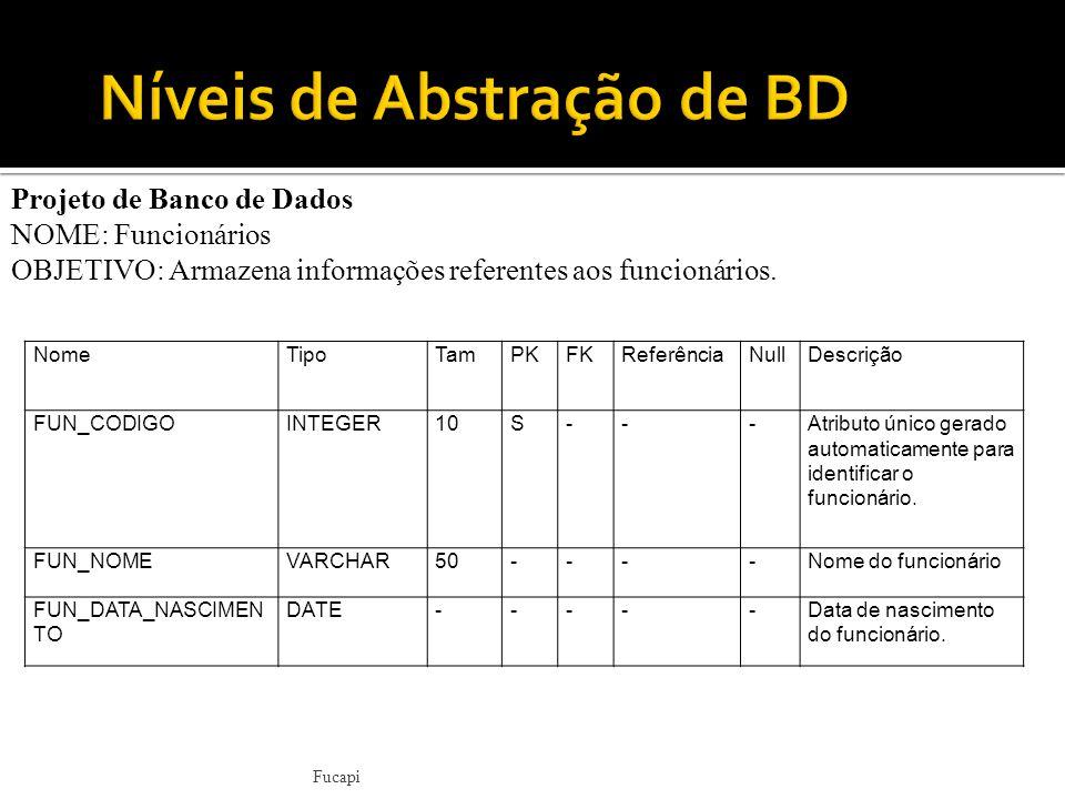 Fucapi Projeto de Banco de Dados NOME: Funcionários OBJETIVO: Armazena informações referentes aos funcionários.