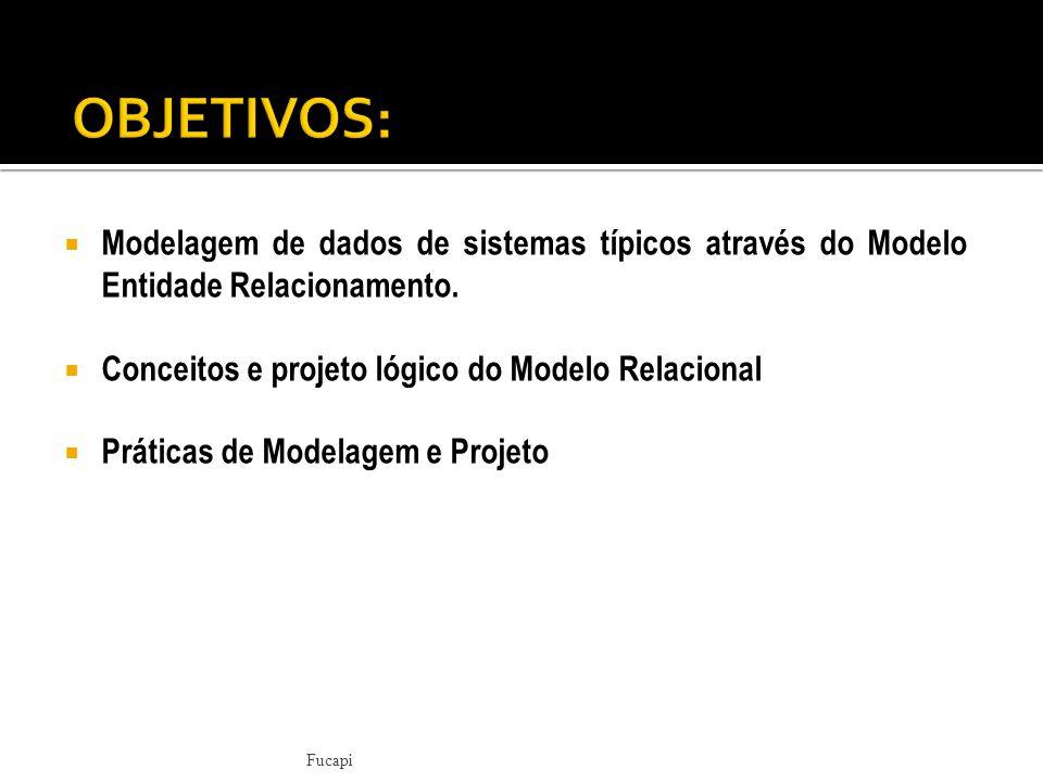  Modelagem de dados de sistemas típicos através do Modelo Entidade Relacionamento.