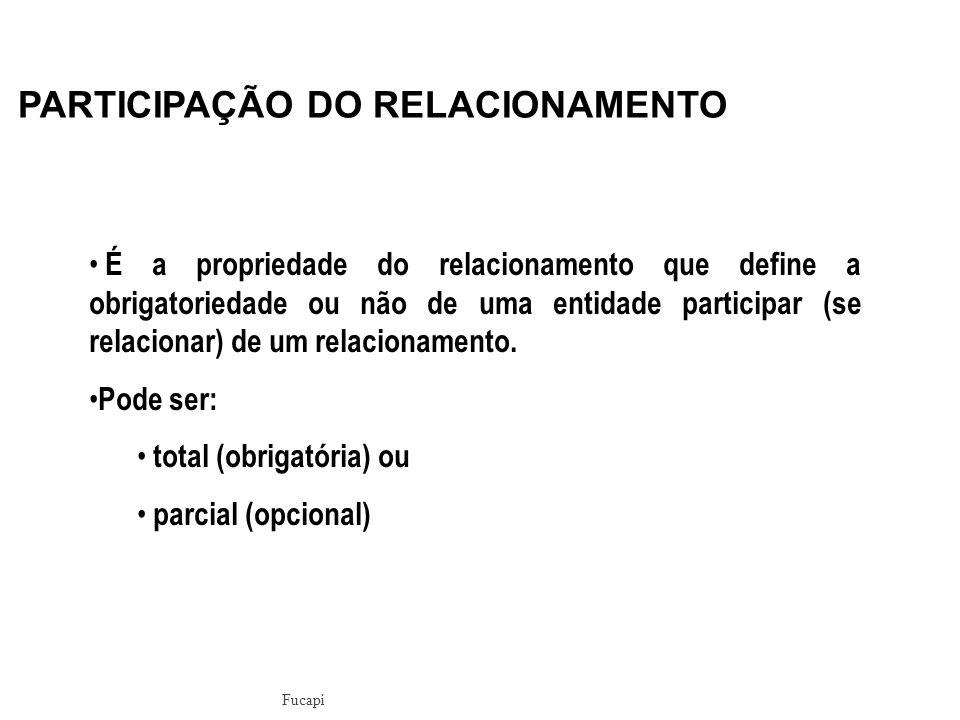 É a propriedade do relacionamento que define a obrigatoriedade ou não de uma entidade participar (se relacionar) de um relacionamento.