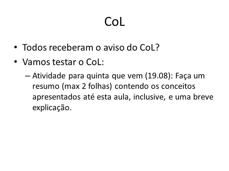 CoL Todos receberam o aviso do CoL? Vamos testar o CoL: – Atividade para quinta que vem (19.08): Faça um resumo (max 2 folhas) contendo os conceitos a