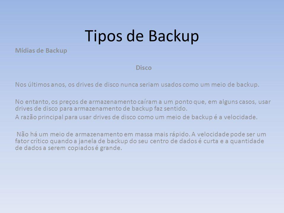 Tipos de Backup Mídias de Backup Disco Nos últimos anos, os drives de disco nunca seriam usados como um meio de backup. No entanto, os preços de armaz