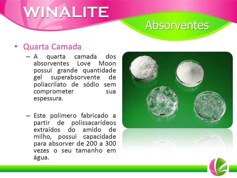 Quarta Camada – A quarta camada dos absorventes Love Moon possui grande quantidade gel superabsorvente de poliacrilato de sódio sem comprometer sua es