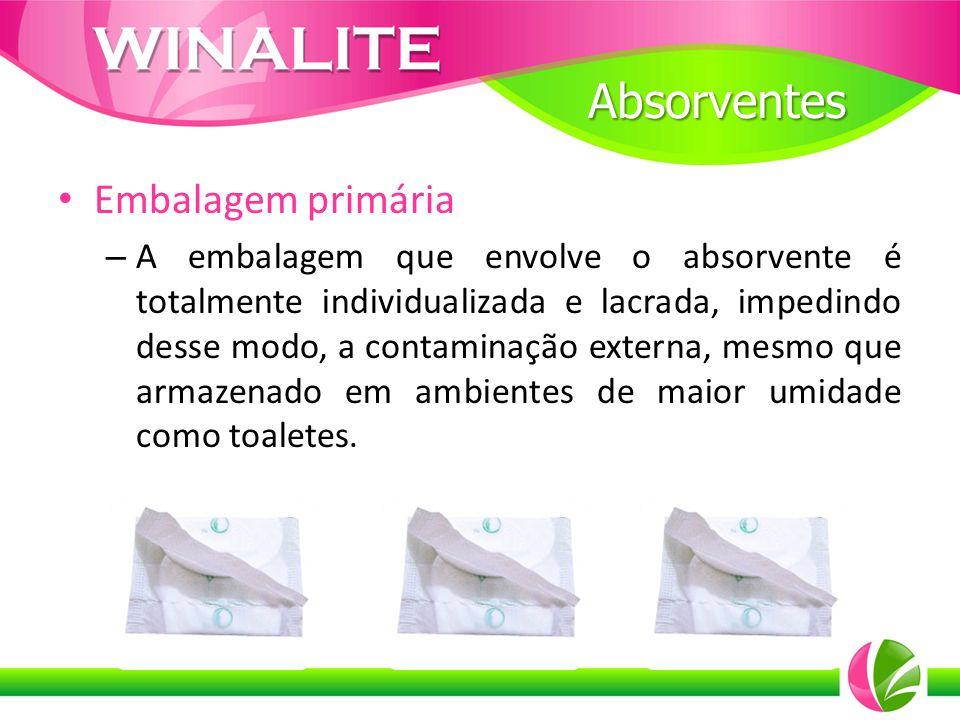 Embalagem primária – A embalagem que envolve o absorvente é totalmente individualizada e lacrada, impedindo desse modo, a contaminação externa, mesmo