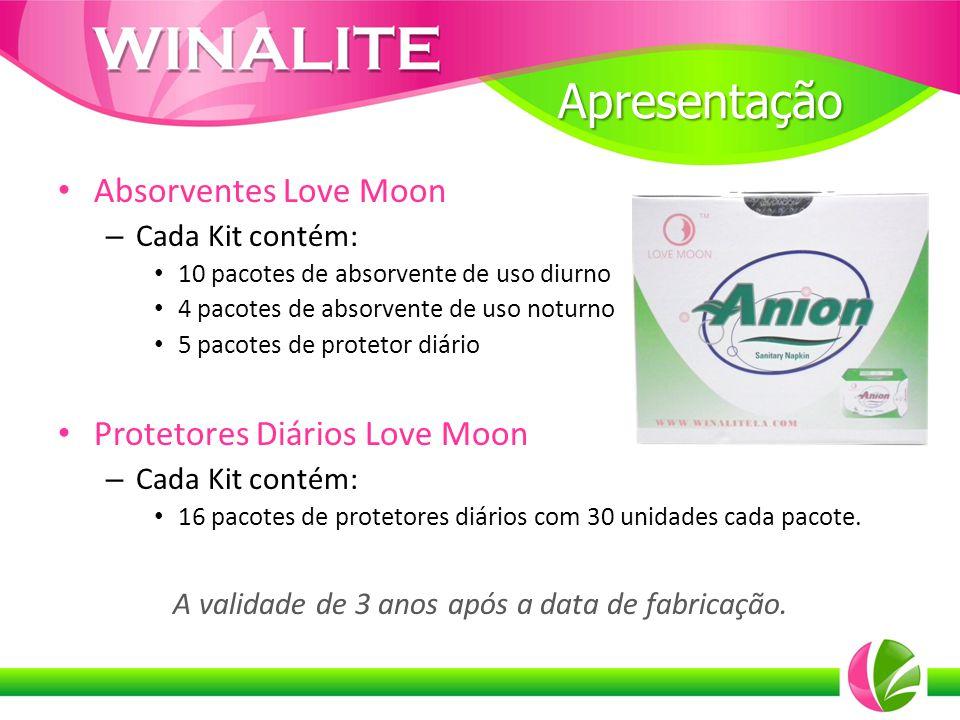 Absorventes Love Moon – Cada Kit contém: 10 pacotes de absorvente de uso diurno 4 pacotes de absorvente de uso noturno 5 pacotes de protetor diário Pr