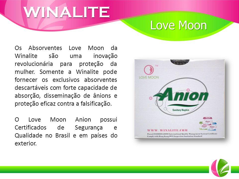 Os Absorventes Love Moon da Winalite são uma inovação revolucionária para proteção da mulher. Somente a Winalite pode fornecer os exclusivos absorvent