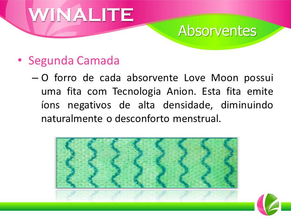Segunda Camada – O forro de cada absorvente Love Moon possui uma fita com Tecnologia Anion. Esta fita emite íons negativos de alta densidade, diminuin