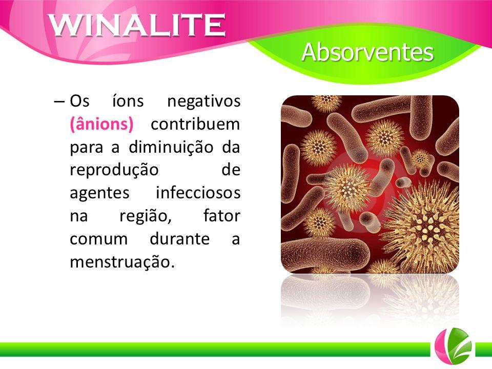 – Os íons negativos (ânions) contribuem para a diminuição da reprodução de agentes infecciosos na região, fator comum durante a menstruação. Absorvent