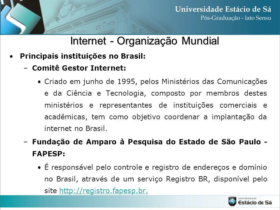 Principais instituições no Brasil: –Comitê Gestor Internet: Criado em junho de 1995, pelos Ministérios das Comunicações e da Ciência e Tecnologia, com