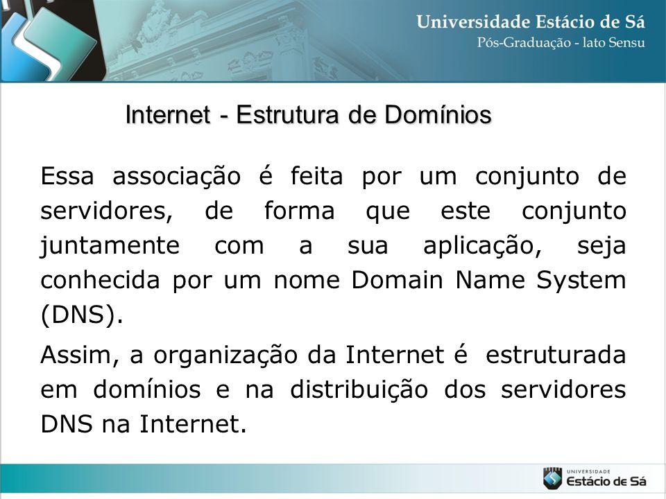 Essa associação é feita por um conjunto de servidores, de forma que este conjunto juntamente com a sua aplicação, seja conhecida por um nome Domain Na