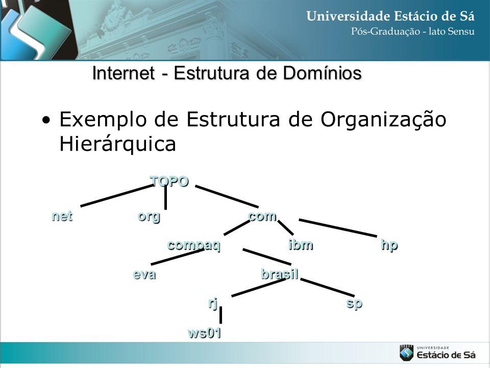 Exemplo de Estrutura de Organização HierárquicaTOPOnetorgcom compaqibmhp evabrasil rjsp ws01 Internet - Estrutura de Domínios