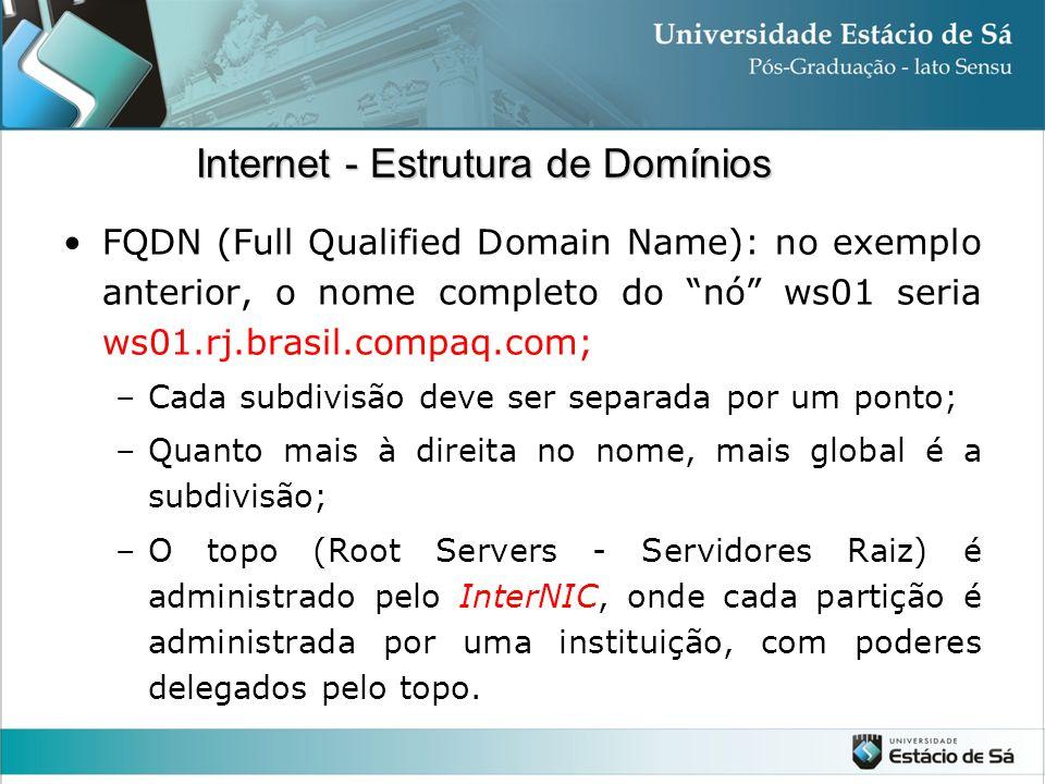 """FQDN (Full Qualified Domain Name): no exemplo anterior, o nome completo do """"nó"""" ws01 seria ws01.rj.brasil.compaq.com; –Cada subdivisão deve ser separa"""