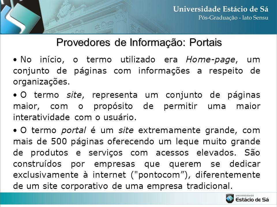 Provedores de Informação: Portais No início, o termo utilizado era Home-page, um conjunto de páginas com informações a respeito de organizações. O ter