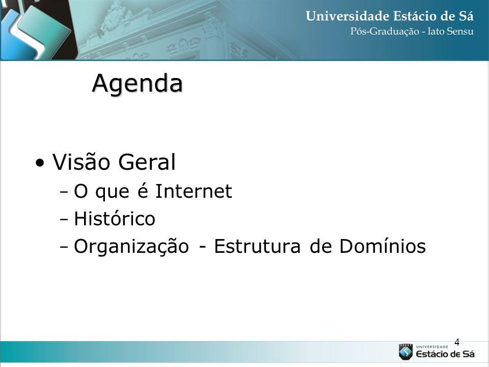 Agenda Visão Geral - O que é Internet - Histórico - Organização - Estrutura de Domínios 4