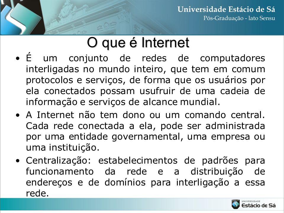 O que é Internet É um conjunto de redes de computadores interligadas no mundo inteiro, que tem em comum protocolos e serviços, de forma que os usuário