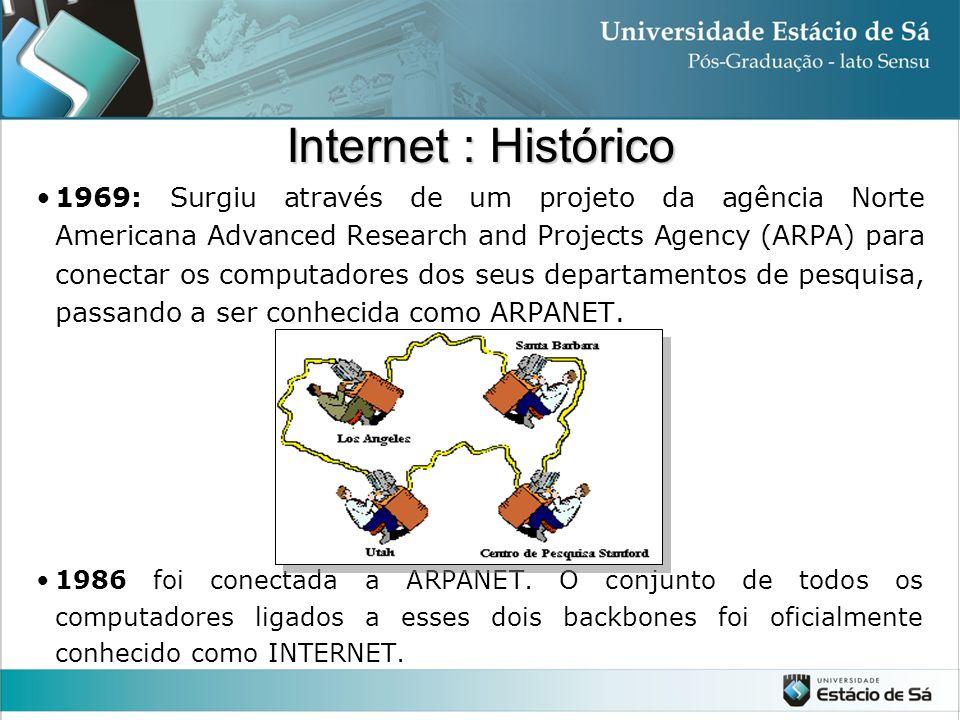 Internet : Histórico 1969: Surgiu através de um projeto da agência Norte Americana Advanced Research and Projects Agency (ARPA) para conectar os compu