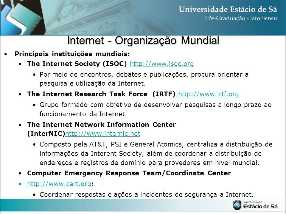 Internet - Organização Mundial Principais instituições mundiais: The Internet Society (ISOC) http://www.isoc.orghttp://www.isoc.org Por meio de encont