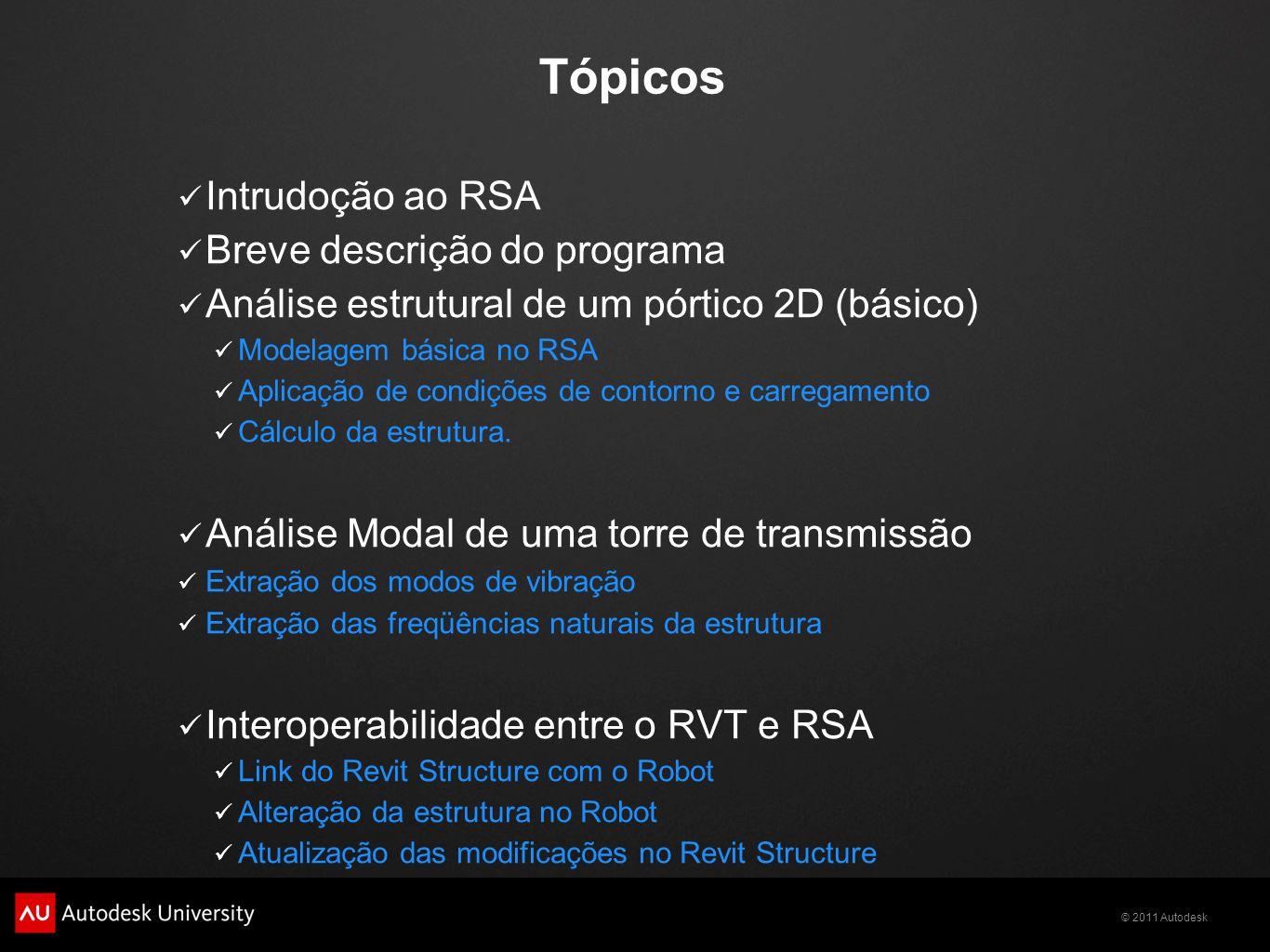 © 2011 Autodesk Tópicos Intrudoção ao RSA Breve descrição do programa Análise estrutural de um pórtico 2D (básico) Modelagem básica no RSA Aplicação de condições de contorno e carregamento Cálculo da estrutura.