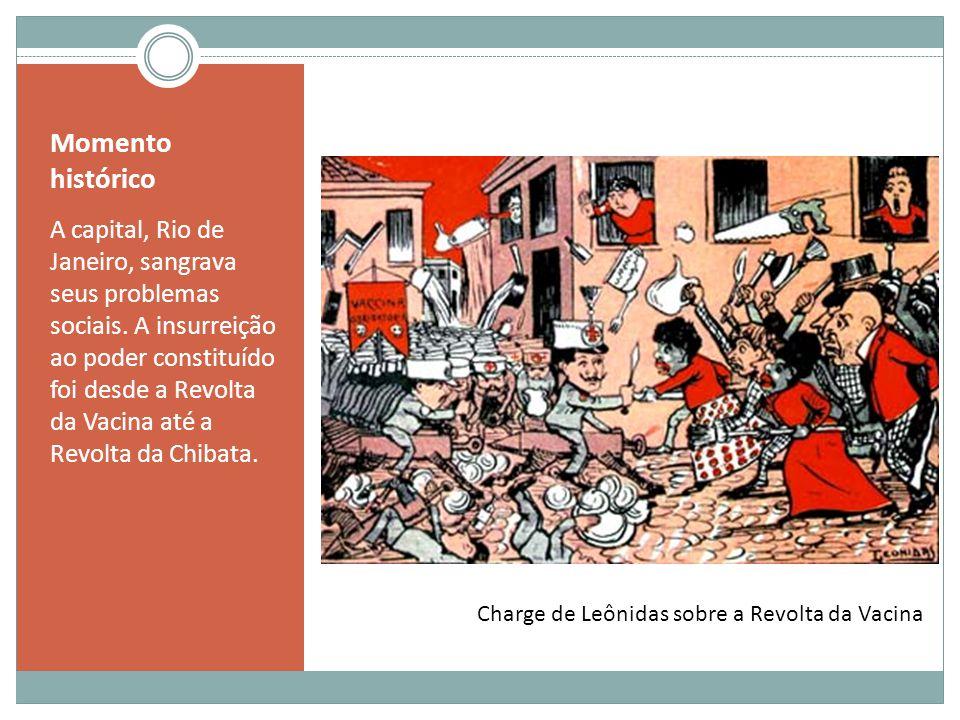 Momento histórico A capital, Rio de Janeiro, sangrava seus problemas sociais. A insurreição ao poder constituído foi desde a Revolta da Vacina até a R