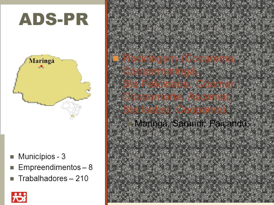 ADS-PR Reciclagem (Cocarema, Coopermaringá, Sta Felicidade, Coomar, Coopernorte, Ascemar, Sta Isabel, Coopama) Maringá, Sarandi, Paiçandú Maringá Muni