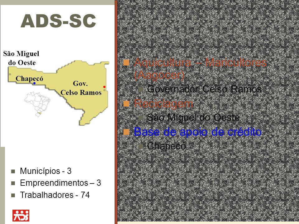 ADS-SC Aquicultura – Maricultores (Aagocer) Governador Celso Ramos Reciclagem São Miguel do Oeste Base de apoio de crédito Chapecó Gov.