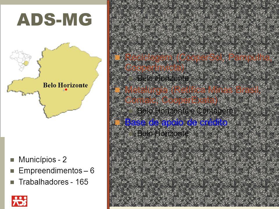 ADS-MG Reciclagem (CooperSol, Pampulha, CooperInvicta) Belo Horizonte Metalurgia (Retífica Minas Brasil, Comaic, CooperExata) Belo Horizonte e Contage