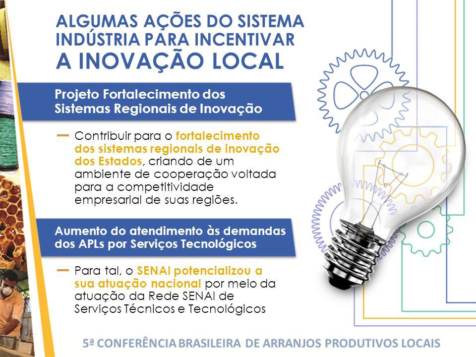 Aumento do atendimento às demandas dos APLs por Serviços Tecnológicos Contribuir para o fortalecimento dos sistemas regionais de inovação dos Estados, criando de um ambiente de cooperação voltada para a competitividade empresarial de suas regiões.