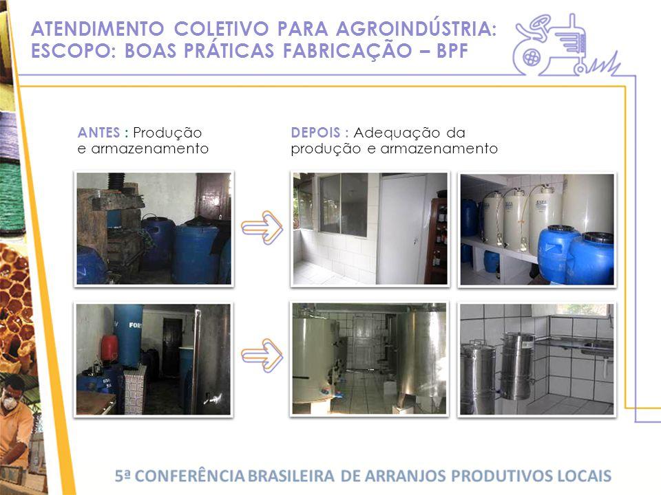 ATENDIMENTO COLETIVO PARA AGROINDÚSTRIA: ESCOPO: BOAS PRÁTICAS FABRICAÇÃO – BPF ANTES : Produção e armazenamento DEPOIS : Adequação da produção e armazenamento