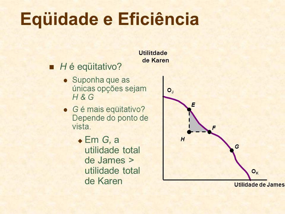 Eqüidade e Eficiência H é eqüitativo? Suponha que as únicas opções sejam H & G G é mais eqüitativo? Depende do ponto de vista.  Em G, a utilidade tot
