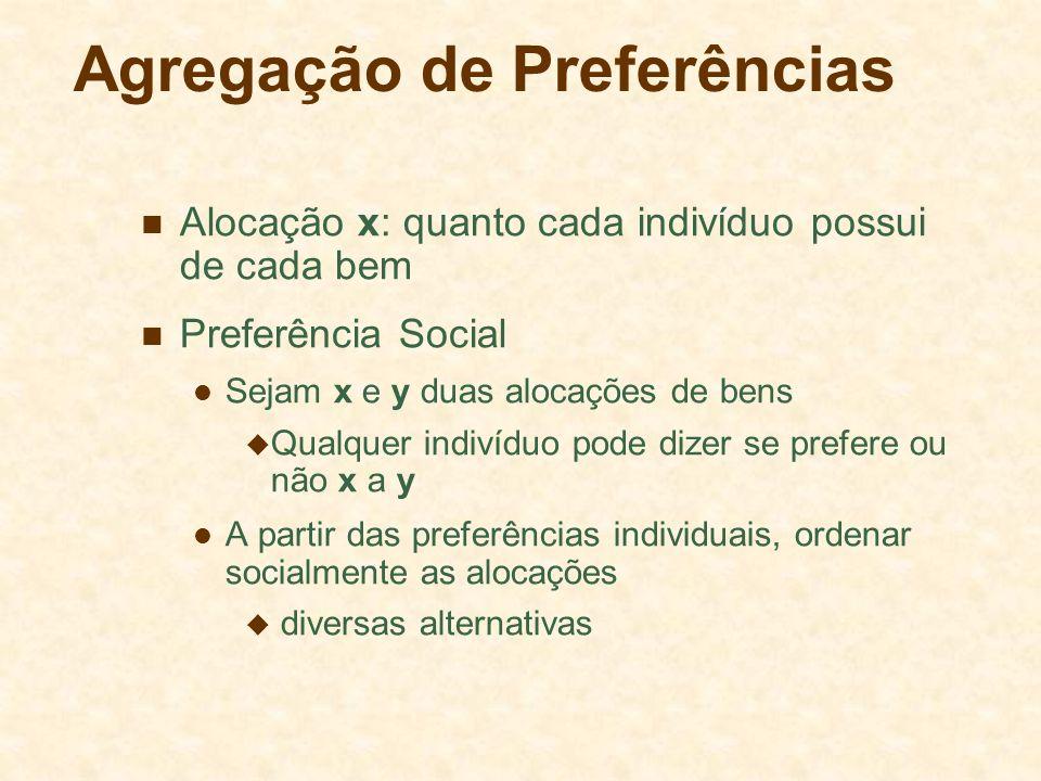 Agregação de Preferências Alocação x: quanto cada indivíduo possui de cada bem Preferência Social Sejam x e y duas alocações de bens  Qualquer indiví