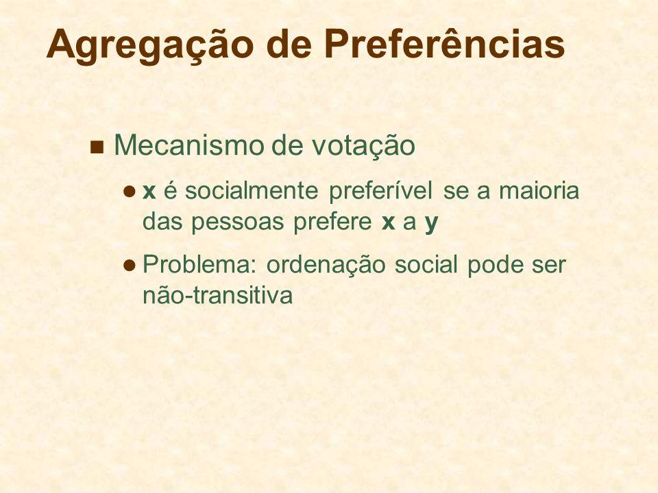Agregação de Preferências Mecanismo de votação x é socialmente preferível se a maioria das pessoas prefere x a y Problema: ordenação social pode ser n