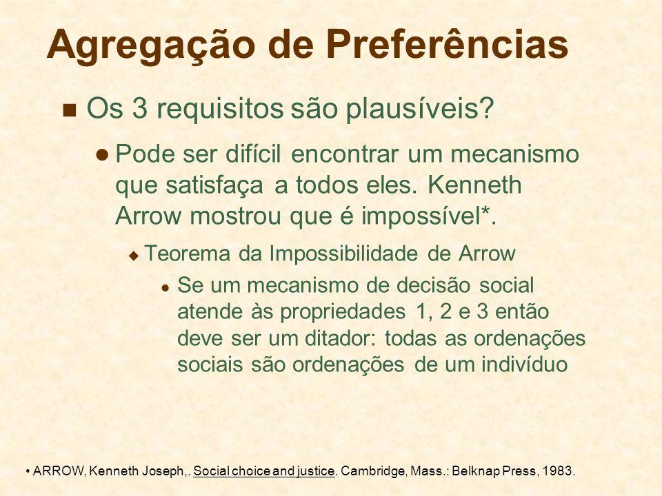 Agregação de Preferências Os 3 requisitos são plausíveis? Pode ser difícil encontrar um mecanismo que satisfaça a todos eles. Kenneth Arrow mostrou qu