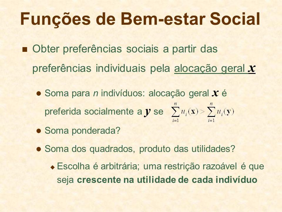 Funções de Bem-estar Social Obter preferências sociais a partir das preferências individuais pela alocação geral x Soma para n indivíduos: alocação ge