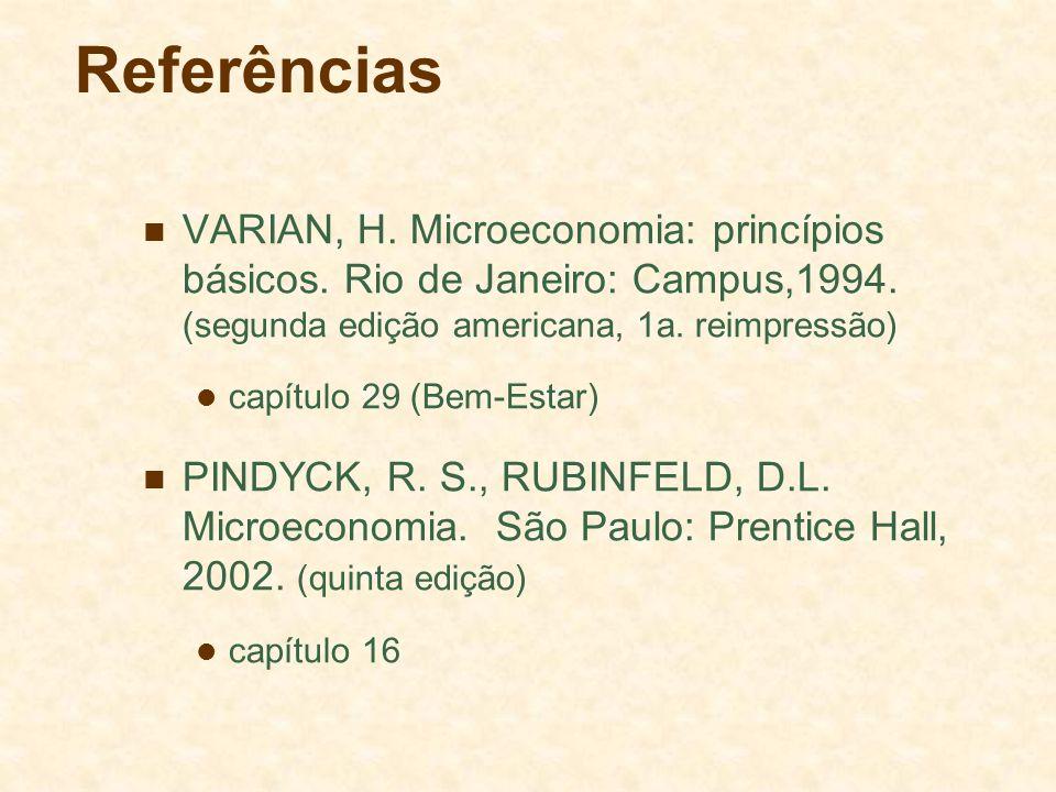 Referências VARIAN, H. Microeconomia: princípios básicos. Rio de Janeiro: Campus,1994. (segunda edição americana, 1a. reimpressão) capítulo 29 (Bem-Es