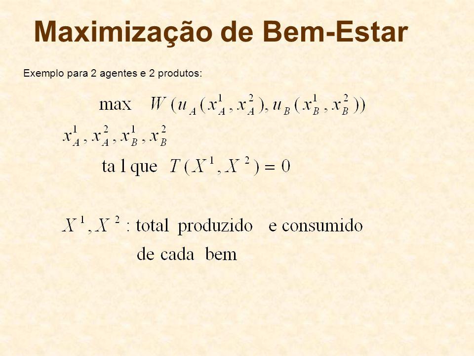 Maximização de Bem-Estar Exemplo para 2 agentes e 2 produtos:
