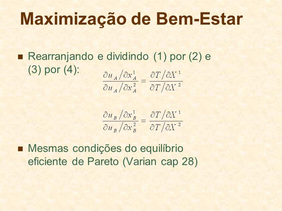Maximização de Bem-Estar Rearranjando e dividindo (1) por (2) e (3) por (4): Mesmas condições do equilíbrio eficiente de Pareto (Varian cap 28)