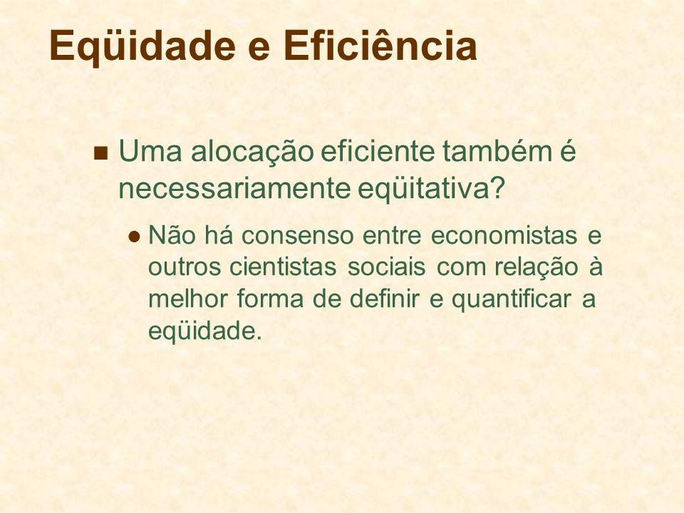 Eqüidade e Eficiência Uma alocação eficiente também é necessariamente eqüitativa? Não há consenso entre economistas e outros cientistas sociais com re