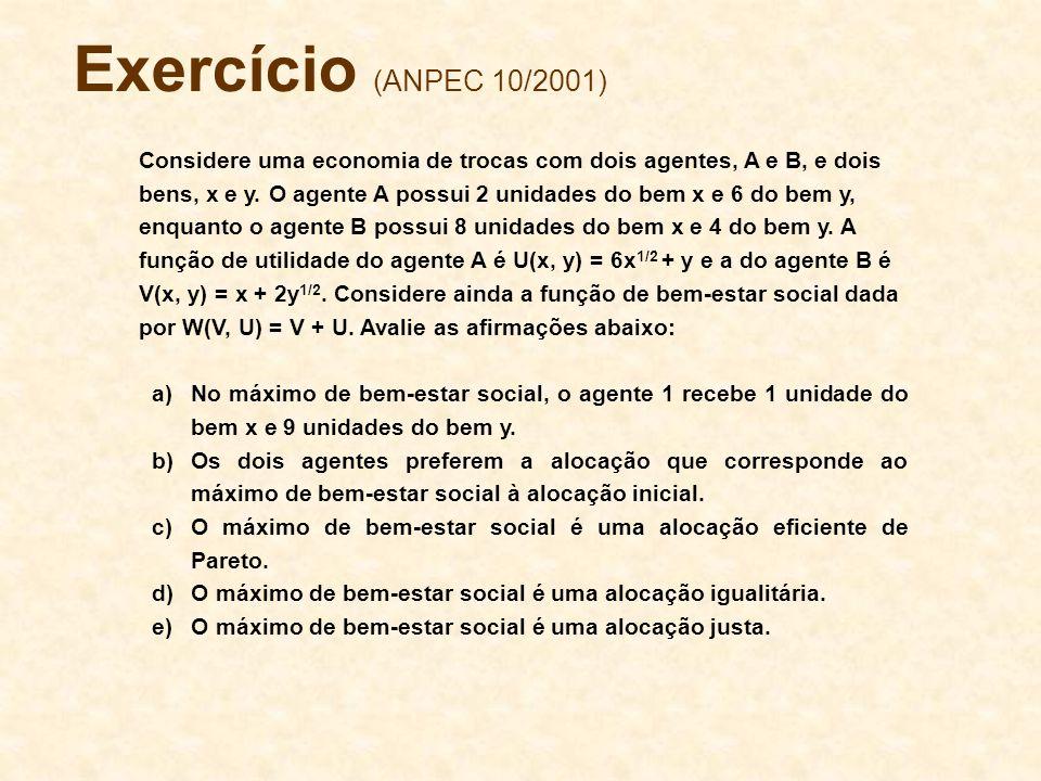 Exercício (ANPEC 10/2001) Considere uma economia de trocas com dois agentes, A e B, e dois bens, x e y. O agente A possui 2 unidades do bem x e 6 do b