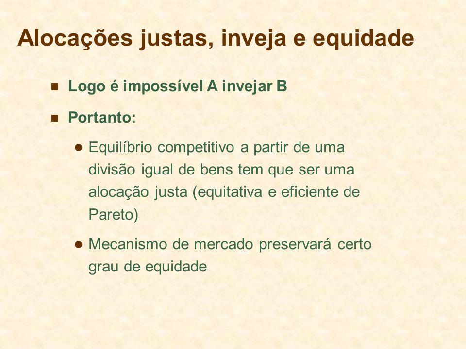 Alocações justas, inveja e equidade Logo é impossível A invejar B Portanto: Equilíbrio competitivo a partir de uma divisão igual de bens tem que ser u