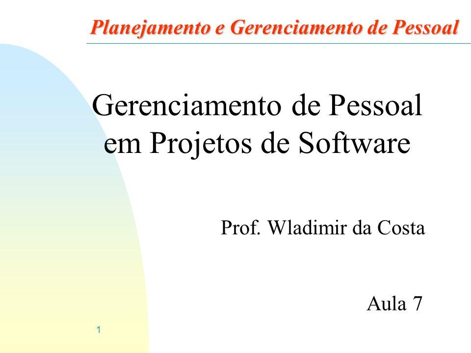 1 Planejamento e Gerenciamento de Pessoal Prof. Wladimir da Costa Aula 7 Gerenciamento de Pessoal em Projetos de Software