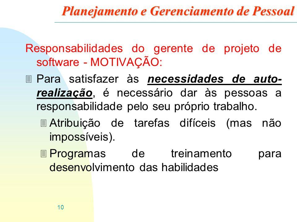 10 Planejamento e Gerenciamento de Pessoal Responsabilidades do gerente de projeto de software - MOTIVAÇÃO: 3 Para satisfazer às necessidades de auto-