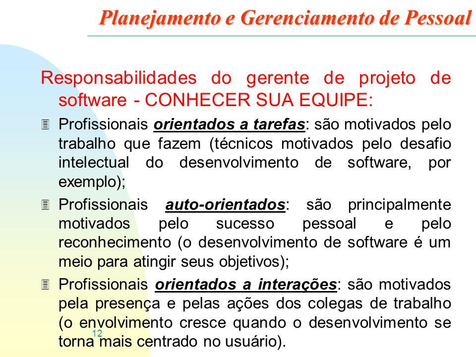 12 Planejamento e Gerenciamento de Pessoal Responsabilidades do gerente de projeto de software - CONHECER SUA EQUIPE: 3 Profissionais orientados a tar