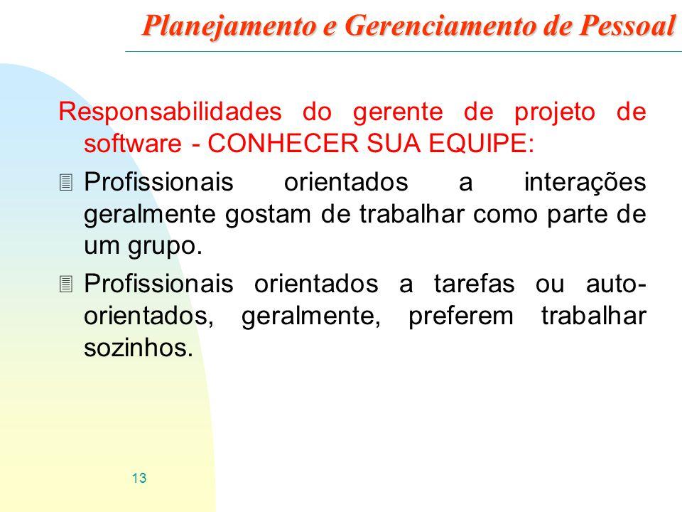 13 Planejamento e Gerenciamento de Pessoal Responsabilidades do gerente de projeto de software - CONHECER SUA EQUIPE: 3 Profissionais orientados a int