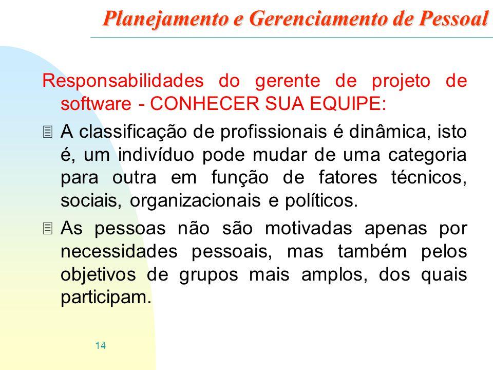 14 Planejamento e Gerenciamento de Pessoal Responsabilidades do gerente de projeto de software - CONHECER SUA EQUIPE: 3 A classificação de profissiona