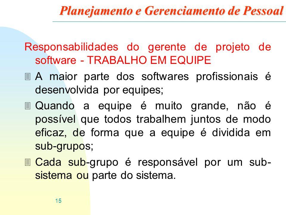 15 Planejamento e Gerenciamento de Pessoal Responsabilidades do gerente de projeto de software - TRABALHO EM EQUIPE 3 A maior parte dos softwares prof