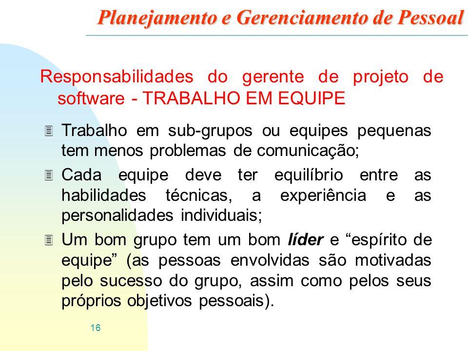 16 Planejamento e Gerenciamento de Pessoal Responsabilidades do gerente de projeto de software - TRABALHO EM EQUIPE 3 Trabalho em sub-grupos ou equipe