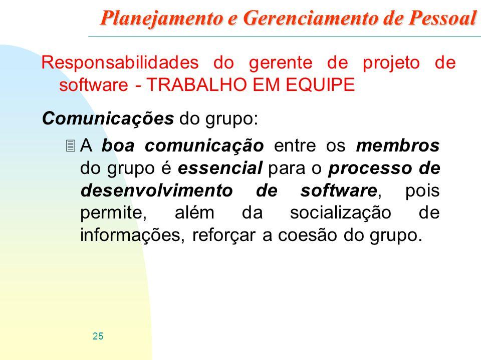 25 Planejamento e Gerenciamento de Pessoal Responsabilidades do gerente de projeto de software - TRABALHO EM EQUIPE Comunicações do grupo: 3 A boa com