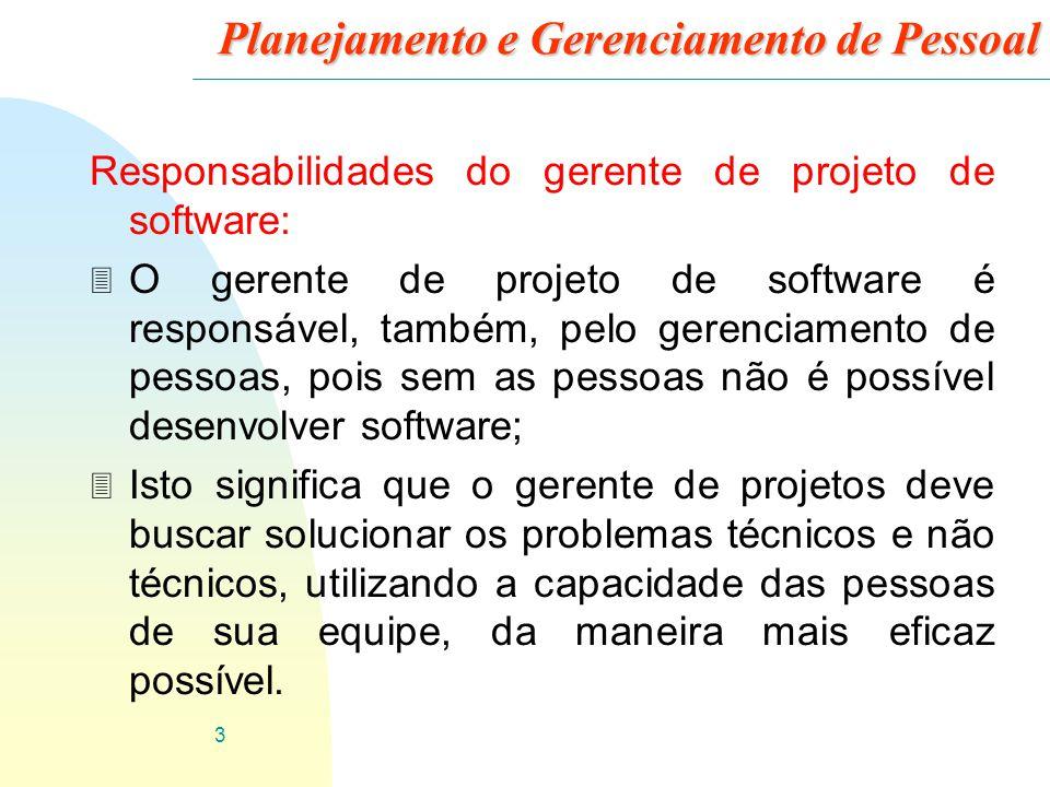 3 Planejamento e Gerenciamento de Pessoal Responsabilidades do gerente de projeto de software: 3 O gerente de projeto de software é responsável, també