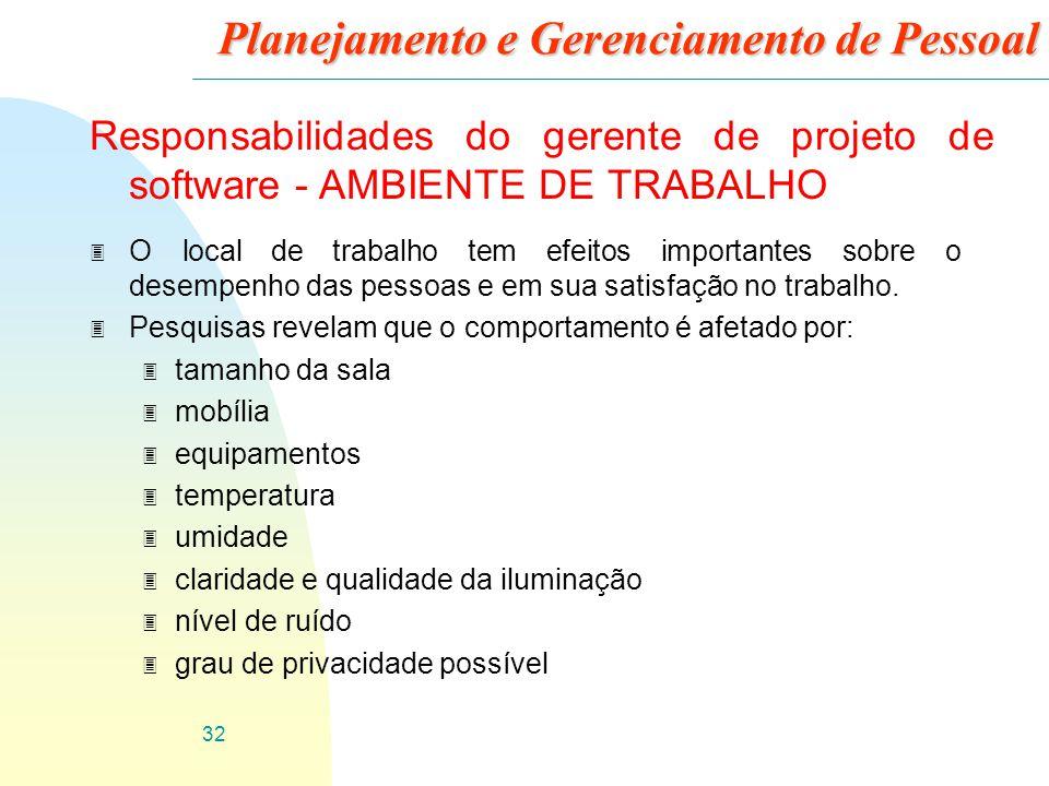 32 Planejamento e Gerenciamento de Pessoal Responsabilidades do gerente de projeto de software - AMBIENTE DE TRABALHO 3 O local de trabalho tem efeito